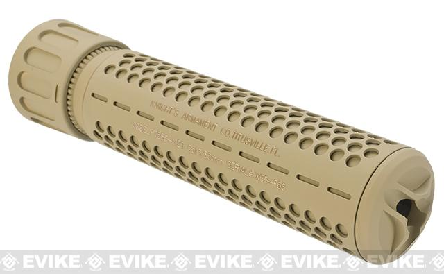 Knights Armament KAC Airsoft 556 QDC Mock Silencer w/ 3 Prong Flash Hider - Tan / Full Size / CW