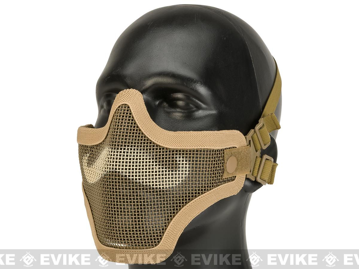 6mmProShop Iron Face Carbon Steel Mesh Moustache Lower Half Mask - Tan