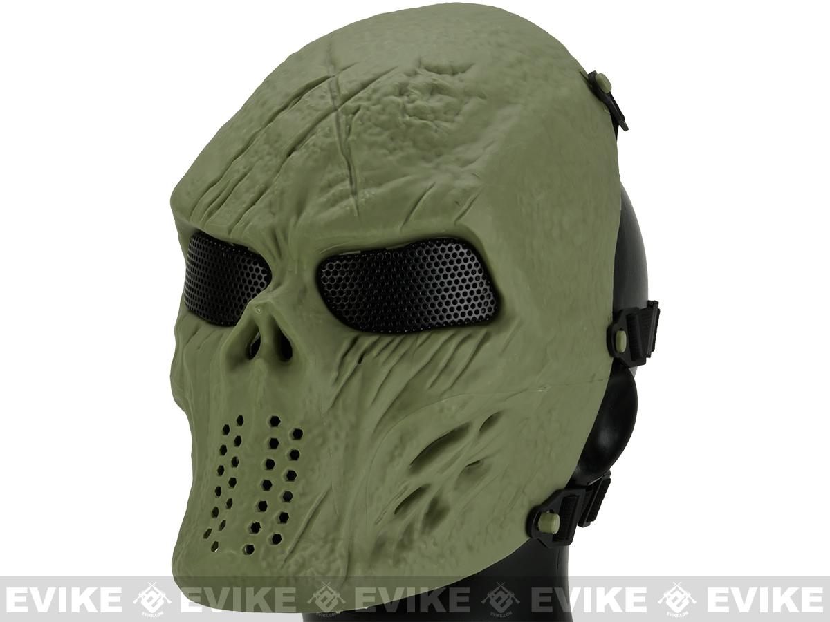 Matrix High Speed Wire Mesh Undead Mask - OD Green Skull