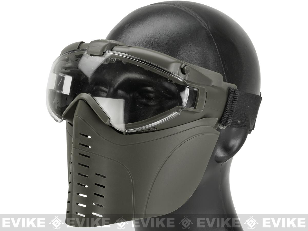 Matrix Pro-Goggle Airsoft Full Face Mask w/ Integrated Fan - OD Green