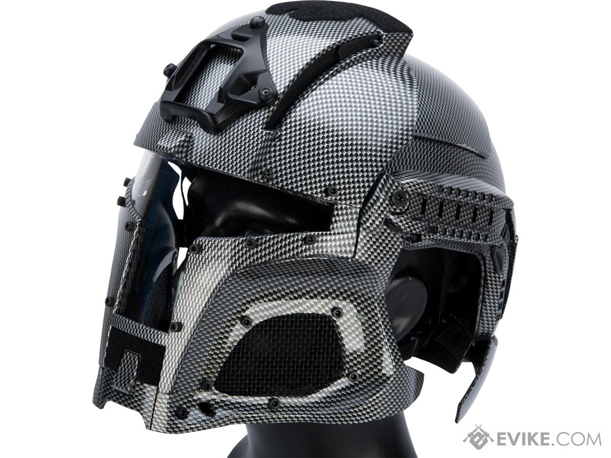 Matrix Medieval Iron Warrior Full Head Coverage Helmet / Mask / Goggle Protective System (Color: Carbon Fiber)