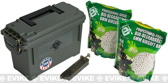 Evike.com Molded Polypropylene Stackable Ammo Can (Made in USA) BB Resupply Kit - (QTY: 2kg / 0.25g Biodegradable)