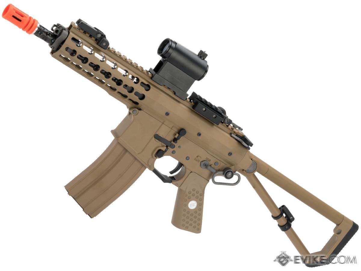 EMG Knights Armament Airsoft PDW M2 Compact Gas Blowback Airsoft Rifle (Model: Tan with Green Gas Magazine)
