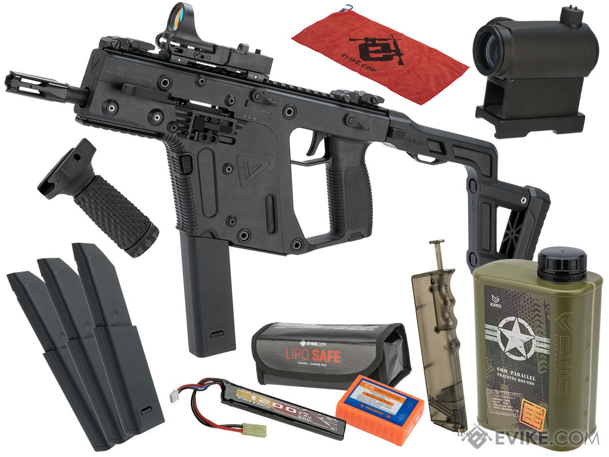 KRISS USA Licensed Kriss Vector Airsoft AEG SMG Rifle by Krytac (Model:  Black <350 FPS / Essential Pack)