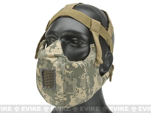 6mmProShop V5 Breathable Padded Dual Layered Nylon Half Face Mask (w/ Bump Helmet Straps) - ACU