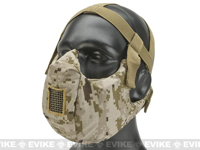 6mmProShop V5 Breathable Padded Dual Layered Nylon Half Face Mask (w/ Bump Helmet Straps) - AOR1