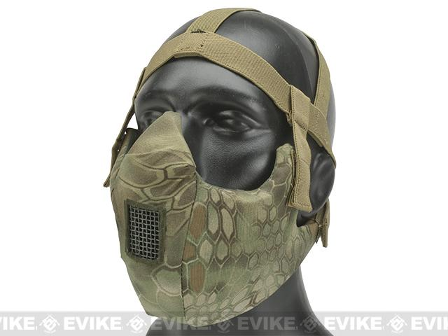 6mmProShop V5 Breathable Padded Dual Layered Nylon Half Face Mask (w/ Bump Helmet Straps) - Woodland Serpent