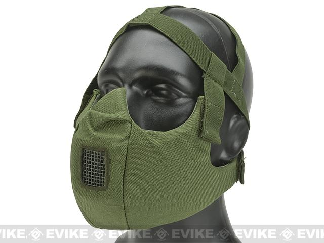 6mmProShop V5 Breathable Padded Dual Layered Nylon Half Face Mask (w/ Bump Helmet Straps) - OD Green