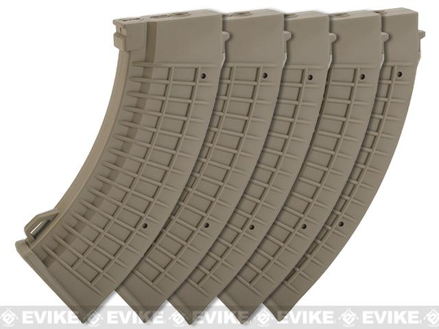 Pre-Order ETA September 2017 King Arms AK 110 rounds Thermal Style Mid-Cap Magazine (Color: Dark Earth / Set of 5 Magazines)