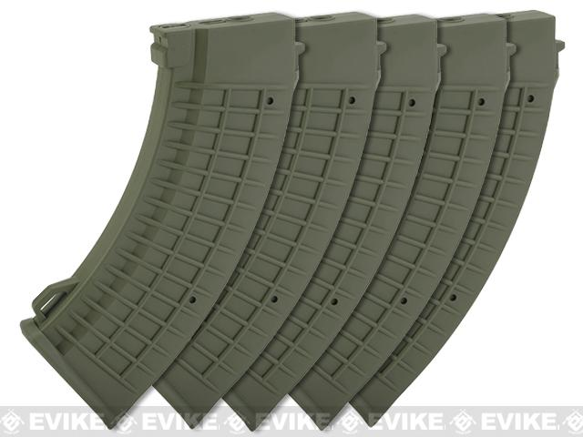 King Arms AK 110 rounds Thermal Style Mid-Cap Magazine (Color: OD Green / Set of 5 Magazines)