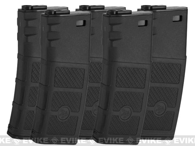 G&P Evike High RPS 130rd Polymer Mid-CAP Magazine for M4 M16 Airsoft AEG Rifles (Color: Black / Set of 5)