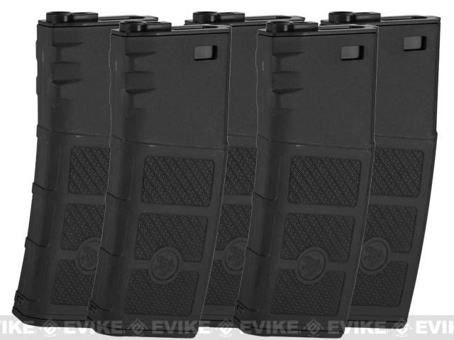 G&P Evike High RPS 360rd Polymer HI-CAP Magazine for M4 M16 Airsoft AEG Rifles (Color: Black / Set of 5)