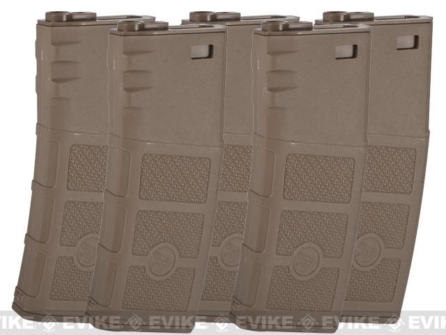 G&P Evike High RPS 360rd Polymer HI-CAP Magazine for M4 M16 Airsoft AEG Rifles (Color: Dark Earth/ Set of 5)