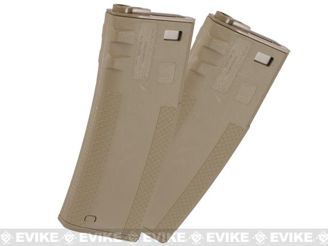 TROY Industry 340rd Polymer Battle Magazine for M4 M16 Airsoft AEG Rifles by G&P Socom Gear (Color: Dark Earth)