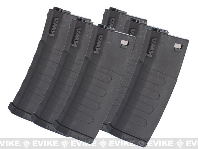 KWA K120 120rd Polymer Midcap Magazine for M4 / M16 Series Airsoft AEG Rifles (Color: Black / Set of 6)