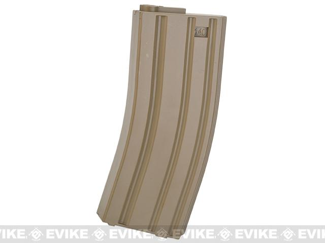6mmProShop 140rd Midcap Magazine for M4 M16 Series Airsoft AEG Rifles (Color: Desert / Single Magazine)