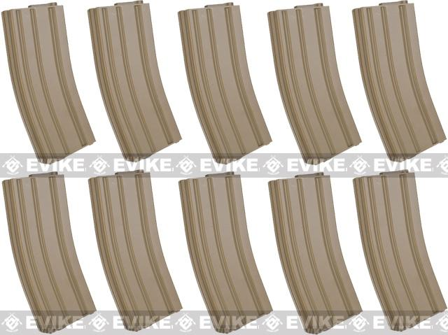 6mmProShop 140rd Midcap Magazine for M4 M16 Series Airsoft AEG Rifles (Color: Desert / Set of 10)
