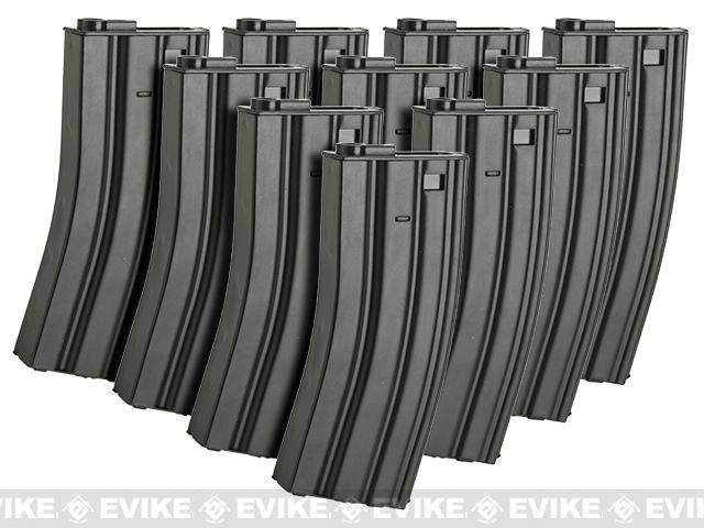 Matrix Metal 300rd Hi-Cap Magazine for M4/M16 Series Airsoft AEG Rifles (Color: Black / Set of 10)