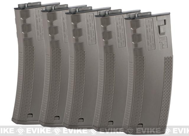 SOCOM Gear 190rd TROY Licensed Polymer BattleMag Airsoft Mid-Cap Magazines - Set of 5 / Dark Earth