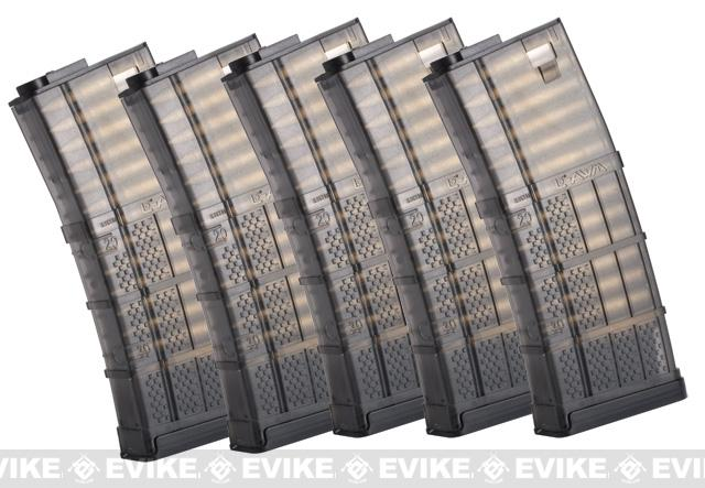 Pre-Order ETA June 2019 SOCOM Gear 190rd Lancer Systems Licensed L5 AWM Airsoft Mid-Cap Magazines - Set of 5  / Black Smoke