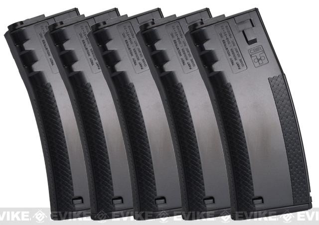 SOCOM Gear 190rd TROY Licensed Polymer BattleMag Airsoft Mid-Cap Magazines - Set of 5 / Black