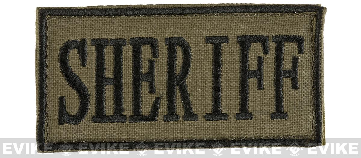Voodoo Tactical Sheriff Embroidered Hook and Loop  Morale Patch - OD Green (Small)