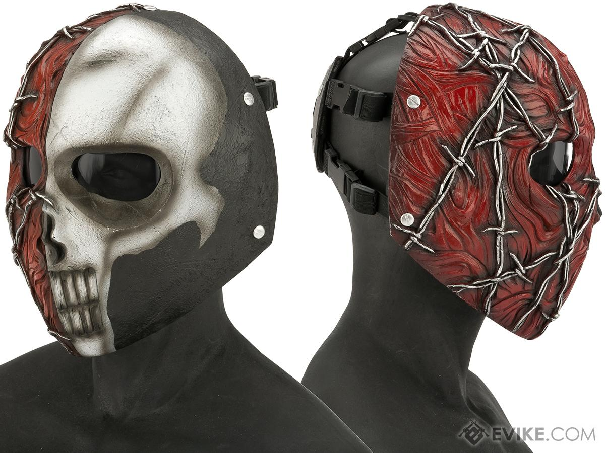 Evike.com R-Custom Fiberglass  Erebos Full Face Mask (Color: White & Red / Smoked Lens)