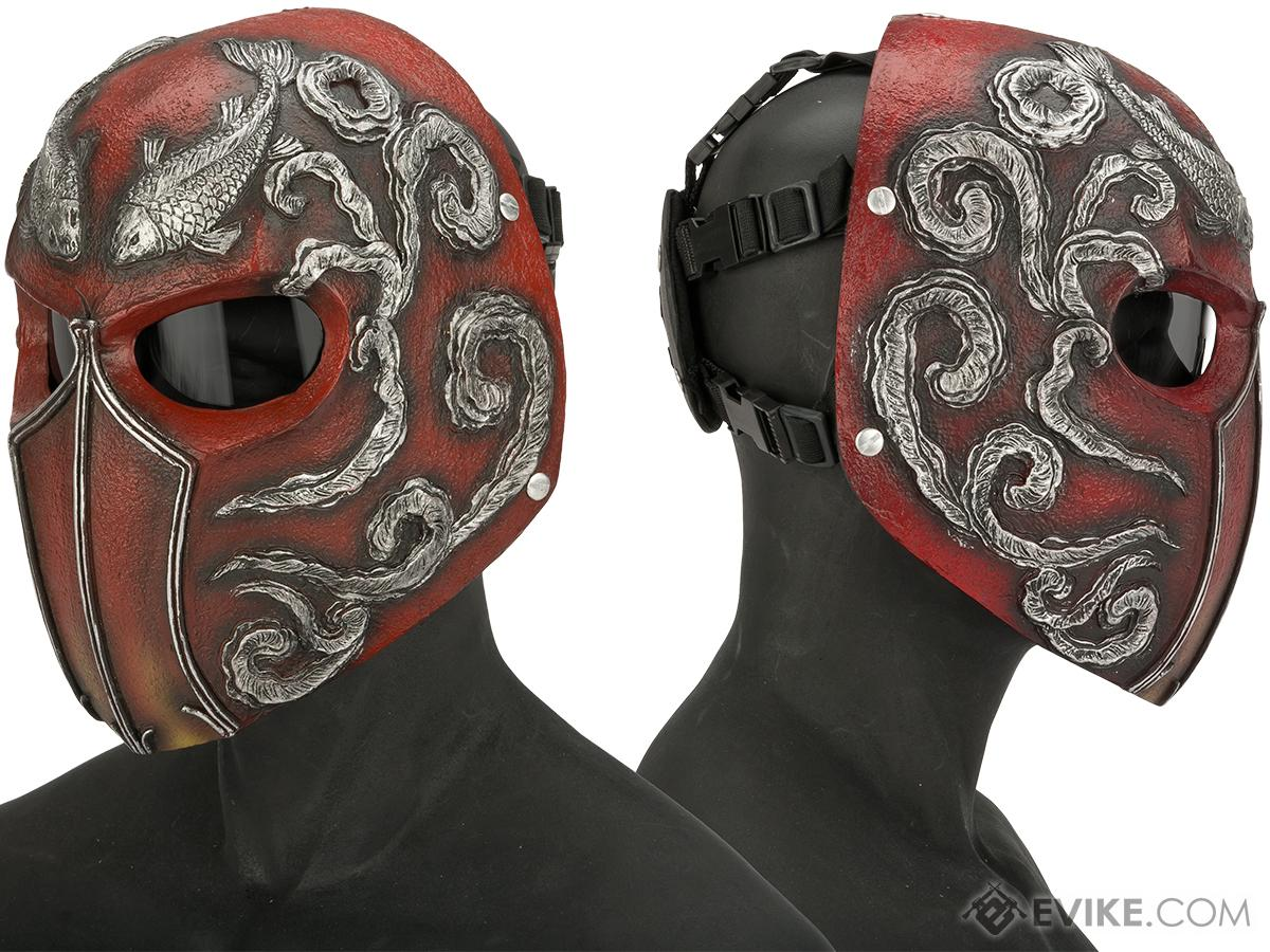 Evike.com R-Custom Fiberglass  Koi Full Face Mask (Color: Maroon / Smoke Lens)