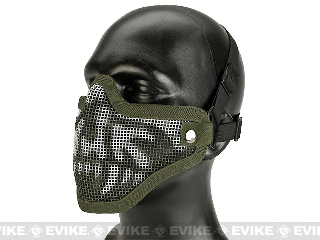 Matrix Iron Face Carbon Steel Mesh Striker V1 Lower Half Mask - OD Green Skull