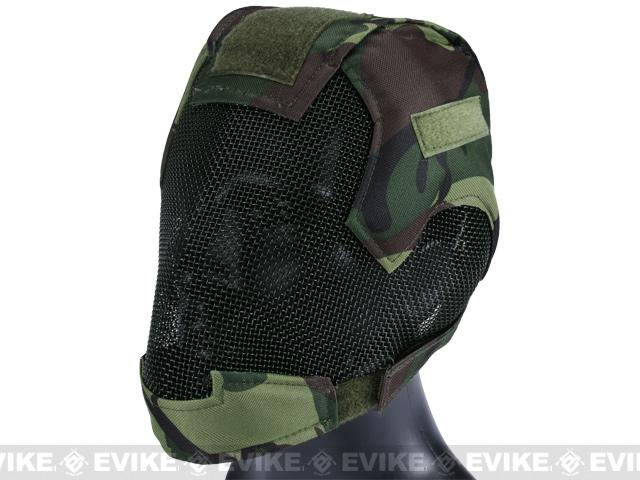 Matrix Striker Helmet Full Face Carbon Steel Mesh Mask / Helmet (Color: Woodland Camo)