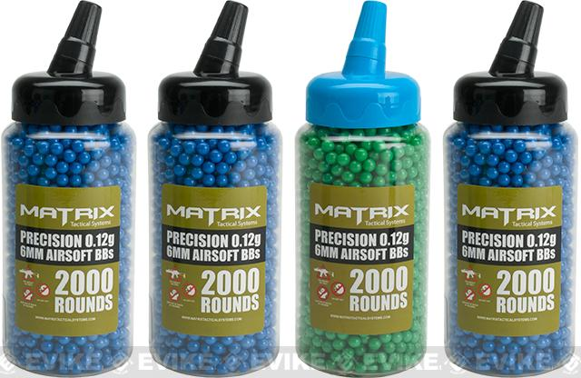Matrix 0.12g Match Grade 6mm Airsoft BBs in Speed Loader Bottles - Set of 4 (8,000 Rounds)