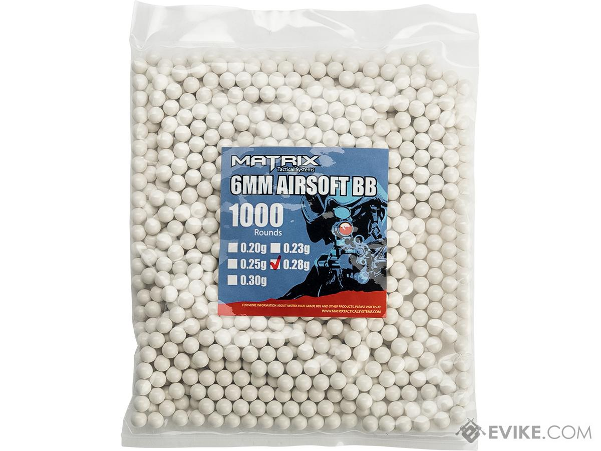 0.28g Match Grade 6mm Airsoft BB by Matrix - 1000 / White