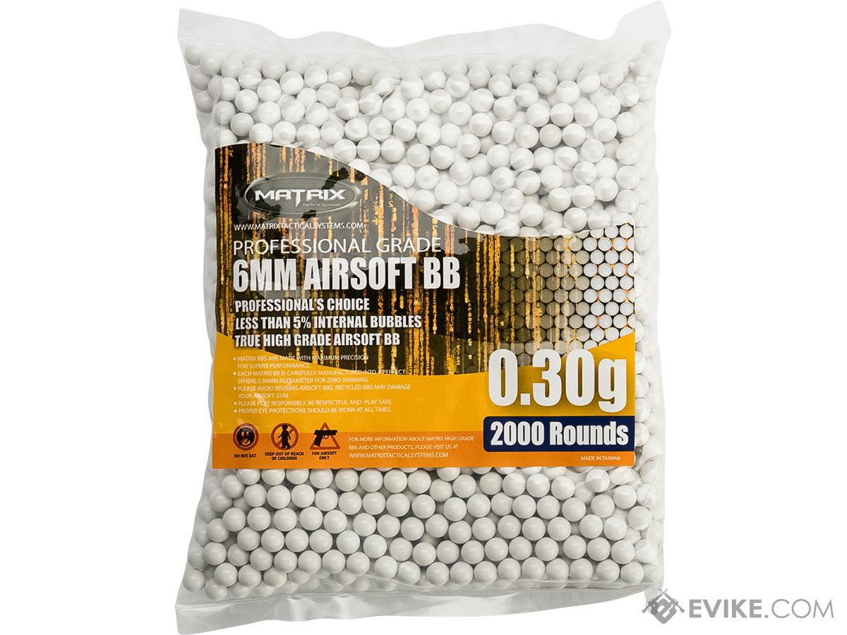 0.30g Match Grade 6mm Airsoft BB by Matrix - 2,000 / White