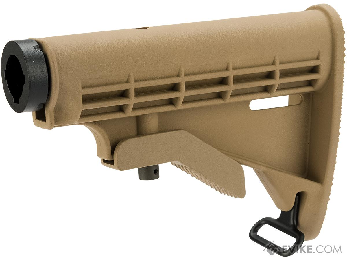 Matrix M4 Retractable LE Stock for M4 Series Airsoft Rifles (Color: Tan / +AEG Buffer Tube)