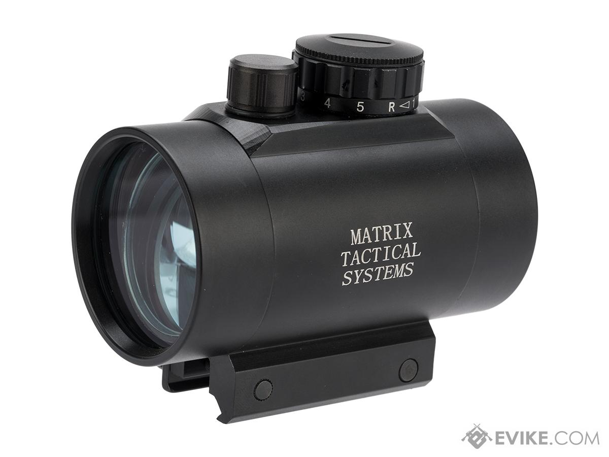 Matrix 1x50 Military Style Illuminated Red / Green Dot Sight Scope w/ QD Weaver Base & Flip-Up Lens Caps