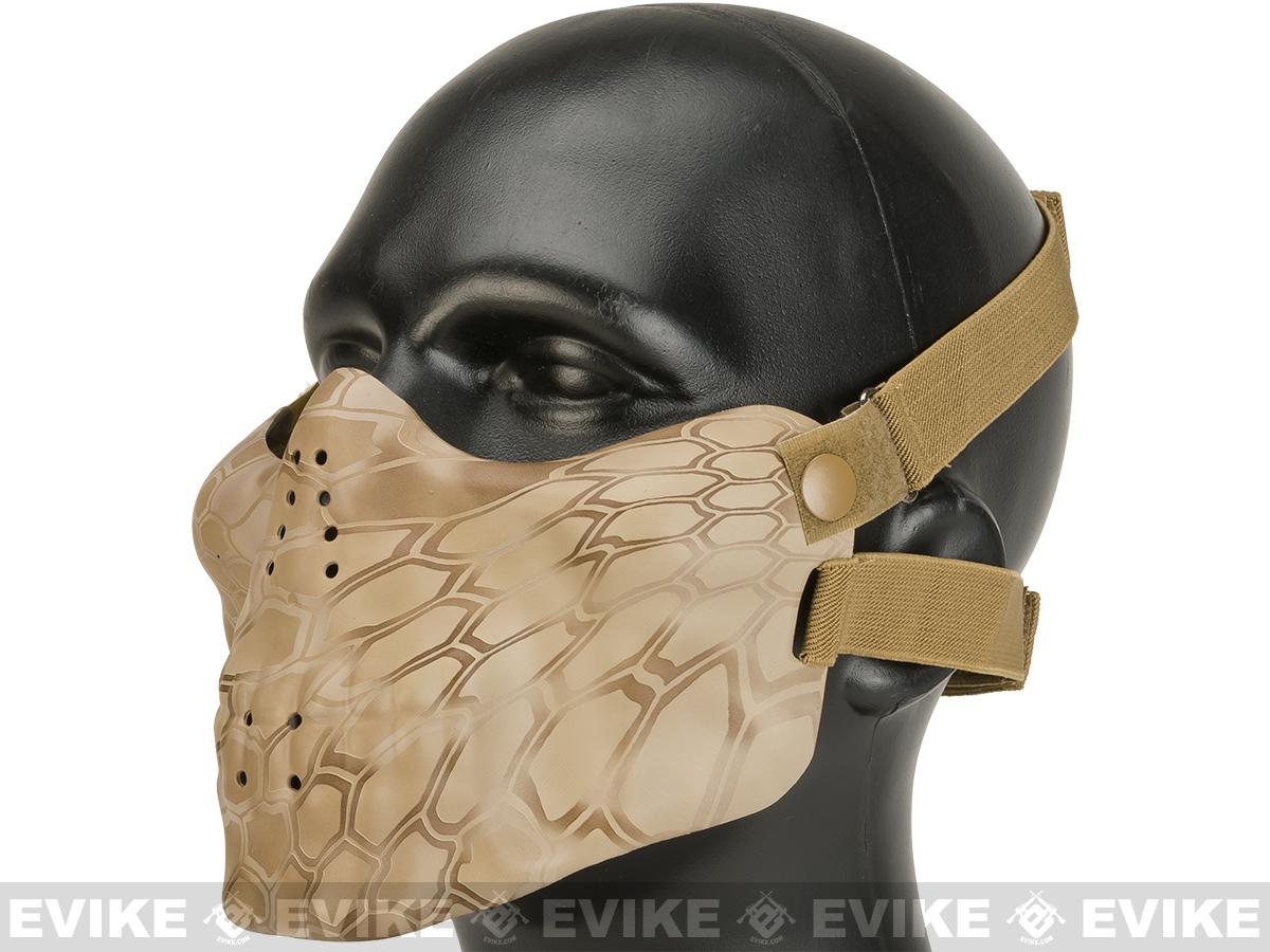 Matrix Iron Face Skull Imprint Nylon Lower Half Mask (Color: Desert Serpent)