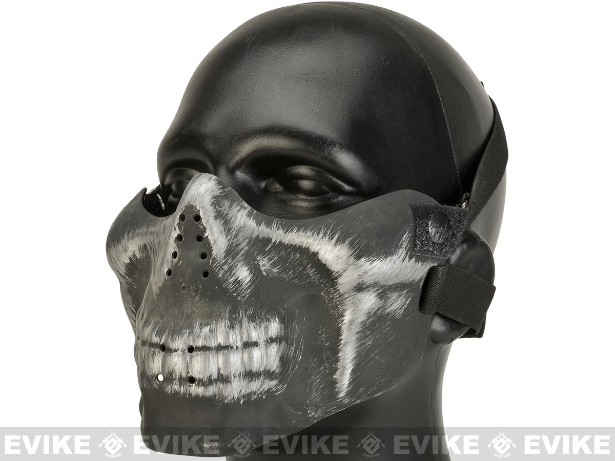 Matrix Iron Face Skull Imprint Nylon Lower Half Mask (Color: Silver)