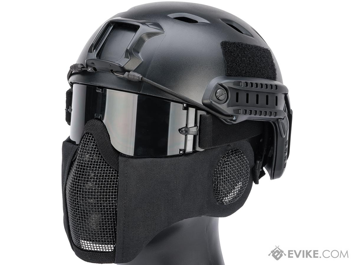 Matrix Carbon Striker Mesh Mask w/ Integrated Mesh Ear Protection (Color: Black)