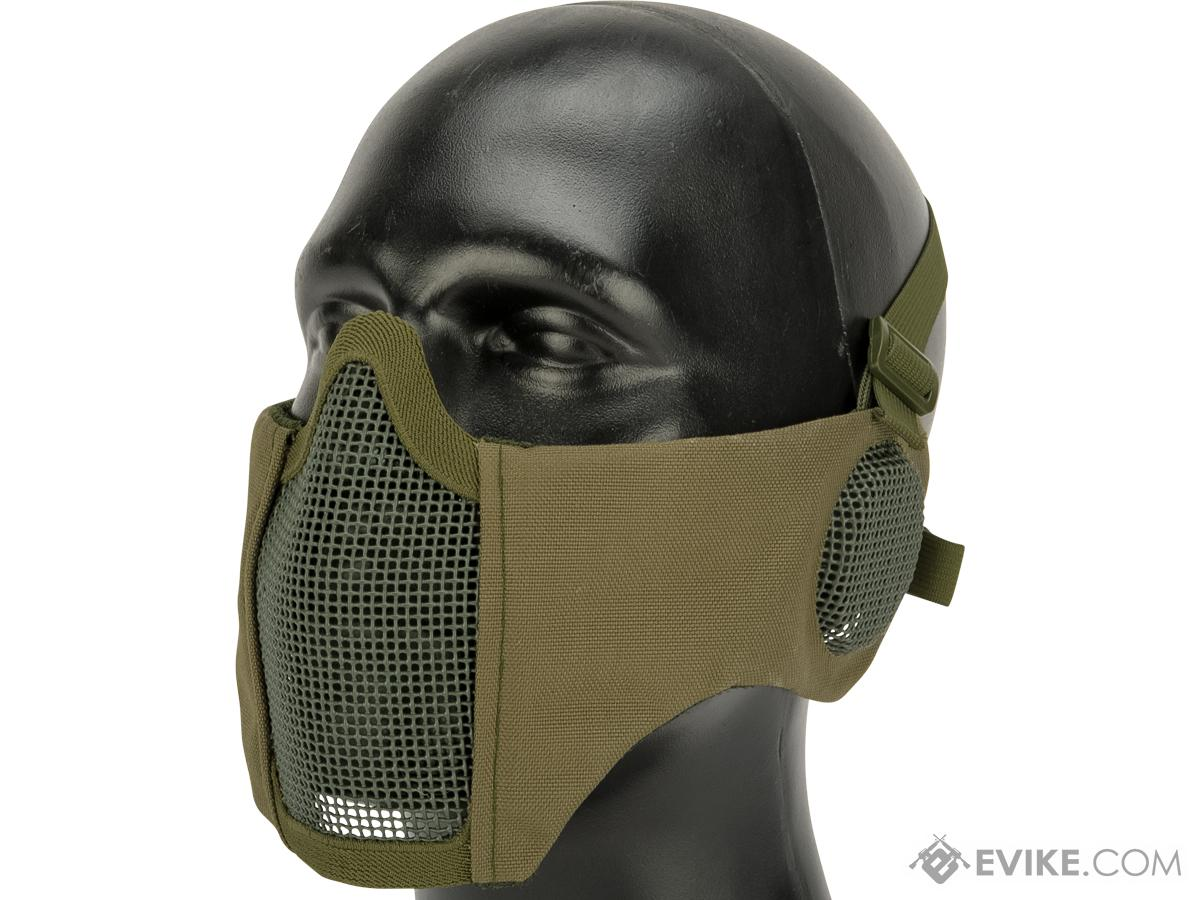 Matrix Carbon Striker Mesh Mask w/ Integrated Mesh Ear Protection (Color: OD Green)