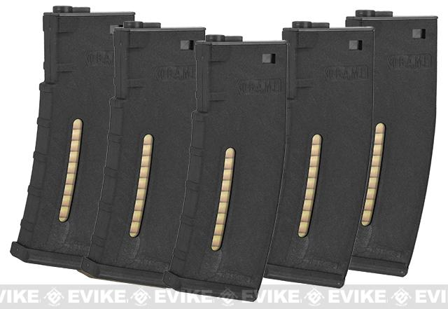 Evike.com BAMF 190rd Polymer Mid-Cap Magazine for M4 / M16 Series Airsoft AEG Rifles (Color: Black / Pack of 5)