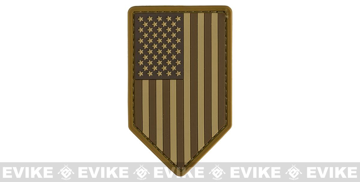 Mil-Spec Monkey PVC Vertical US Flag Patch - Desert