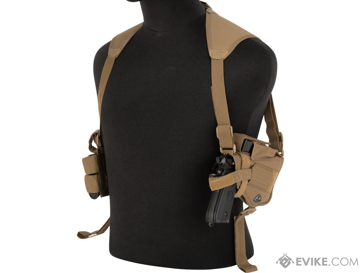 Universal Tactical Shoulder Holster with Dual Magazine Pouch (Color: Tan)