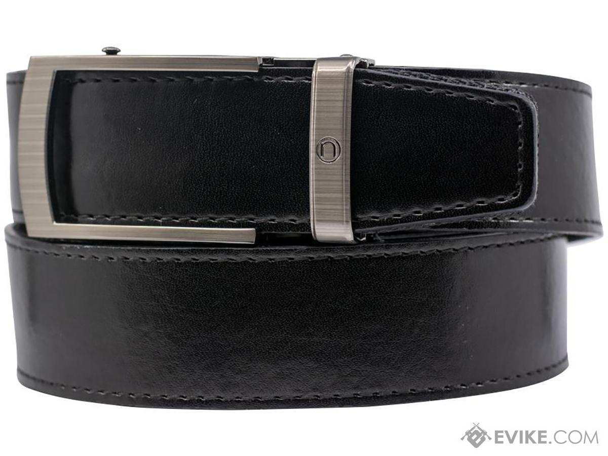 NexBelt PreciseFit™ EDC Micro Adjustment Ratcheting Leather Gun Belt (Color: Brushed Stainless w/ Black Chrome Buckle)