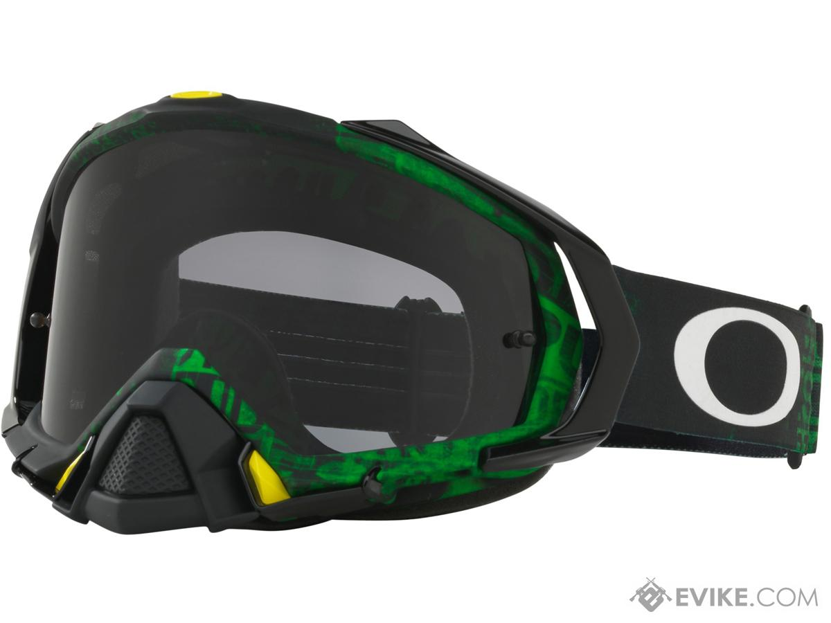 Oakley Mayhem™ ProMX Series Goggle (Color: Black Green / Dark Grey Lens)