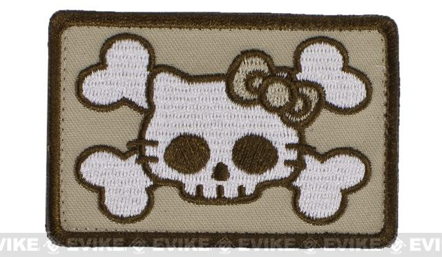 Avengers Airsoft Tactical Desert Skull Cat IFF Velcro Patch - Desert