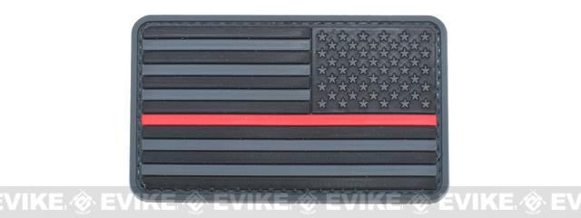 US Flag PVC Hook and Loop Rubber Patch (Color: Reverse / Thin Red Line)