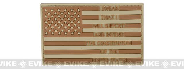 US Flag PVC Hook and Loop Rubber Patch - Oath of Enlistment - Tan