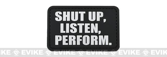 PVC Hook and Loop IFF Patch - Shut Up, Listen, Perform - Black