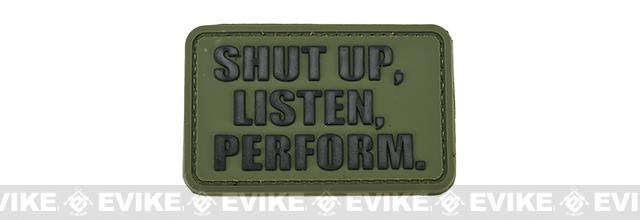 PVC Hook and Loop IFF Patch - Shut Up, Listen, Perform - OD Green