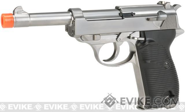 WE Full Metal Heavy Weight P38 Airsoft Gas Blow Back Pistol (Color: Silver)